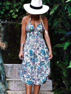 Pretty Sexy Floral-Print Straps Off-Back V Neck Lace-Up Midi Dress