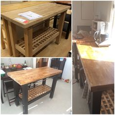 ikea s groland kitchen island made into a counter height table by