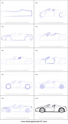 Ferrari is an Italian car made for sports purpose. In this tutorial, we will draw Ferrari. Drawing Sheet, Drawing Sketches, How To Make Sketch, Car Drawing Pencil, Cool Car Drawings, Drawing Furniture, Architecture Concept Drawings, Cars Coloring Pages, Car Design Sketch