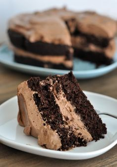 Amazing Decadent Chocolate Cake with Whipped Chocolate Frosting !