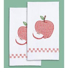 """Stamped White Decorative Hand Towel Pair 17""""X28""""-Apple"""