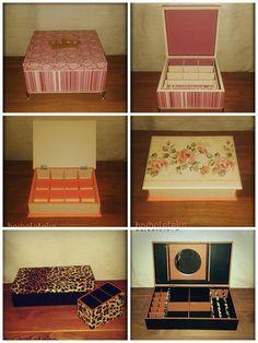 Modelo 01 - Rosa com bege (aplique de coroa) Modelo 02 - Bege com flamingo  Modelo 03 - cx de maquiagem oncinha com preto + organizador de pincéis