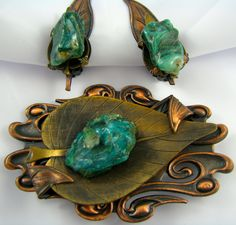 copper and  brooch and clip earrings with precious stone turquoise chunk available for $45.00 at  http://vintagecollector.ca/