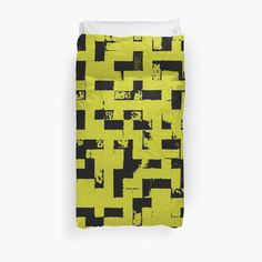 20% off pillows, mugs, & duvet covers. Use MAKEROOM20  Line Art - The Bricks, tetris style, yellow and black by cool-shirts