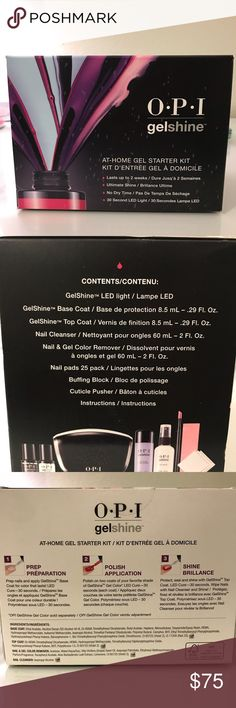 OPI gelshine kit At home Gel starter kit. Includes LED lamp, base coat, top coat, nail cleanser, nail and gel remover, nail pads, buffing block, and cuticle pusher. Never been opened. OPI Other