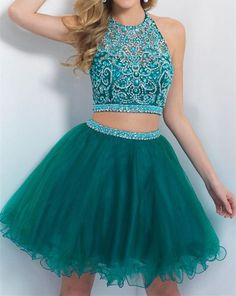 Turquoise Homecoming Dress,Tulle Homecoming Dresses,2 Piece Homecoming Dress,,2…