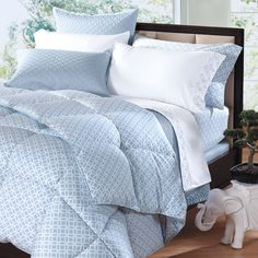 Cuddledown Meridian Print Synthetic Comforter Azure Blue &White 400 Thread Count #Cuddledown #Modern