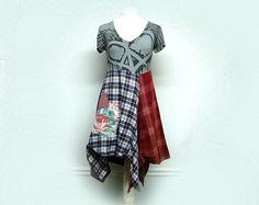Medium Boho Chic Dress, Funky Flannel Urban Chic Dress, Shabby Hippie Chic, Eco Friendly Upcycled Clothing by Primitive Fringe by PrimitiveFringe on Etsy https://www.etsy.com/listing/499136125/medium-boho-chic-dress-funky-flannel