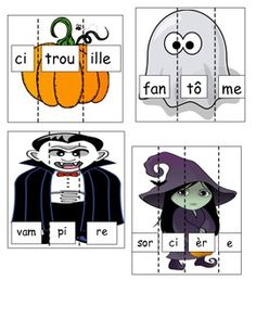 Print, laminate and cut on dotted lines to create a Halloween themed Literacy Centre in French. Print, laminate and cut on dotted lines to create a Halloween themed Literacy Centre in French. Theme Halloween, Halloween Activities, Holidays Halloween, Halloween Crafts, Halloween Countdown, Halloween Halloween, French Teaching Resources, Teaching French, Learning French For Kids