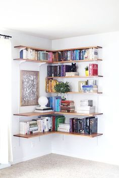 Consider Your Corners - 30 Small-Space Hacks You've Never Seen Before - Photos Corner Bookshelves, Bookcase, Shelves, Corner Wall Shelves, Bookcases, Book Furniture, Bookcase Closet