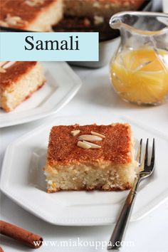 A semolina cake flavoured with syrup and mastic (mastiha) and soaked with a sweet syrup.