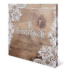 Hochzeit Gästebuch Hardcover - Rustikal - 210 x 210 mm 144 Seiten Weiße Innenseiten Naturpapier Cover, Home Decor, Weddings, Amazon, Wedding, Wood Patterns, Rustic Style, White Lace, Place Cards
