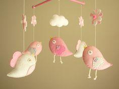 Baby crib mobile Bird mobile felt mobile nursery by Feltnjoy, $80.00