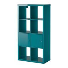 IKEA - KALLAX, Regal mit Türen, Hochglanz türkis,