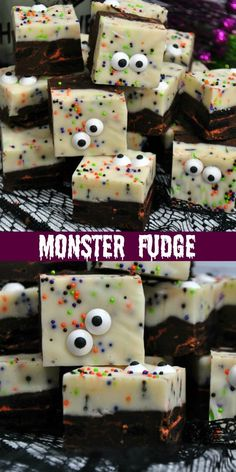 Monster Fudge ~ a simple and easy Halloween fudge recipe that will spice up your party or get your kids ready for the big day! Halloween Fudge Recipe, Halloween Desserts, Halloween Treats, Easy Halloween, Halloween Baking, Halloween Cakes, Halloween Party, Quick Easy Desserts, Delicious Desserts