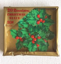 Vintage Dennison Christmas Holly 20 Seals Stickers ~ Gummed | eBay