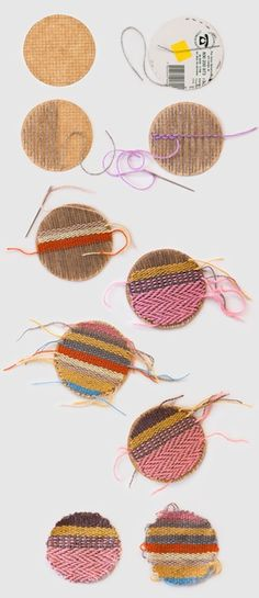 This is a great idea for any small-sized weaving project - all you need is cardboard, needle, pencil, and scrap thread! The sky's the limit here. I would love to make some badges using this idea.