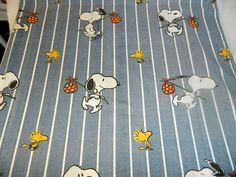 Snoopy Woodstock VTG Twin Flat Sheet Blue white Stripes Peanuts gang fabric #stevens