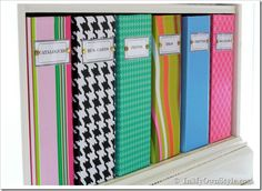 Organizing Ideas: Colorful Magazine Files + Free Labels
