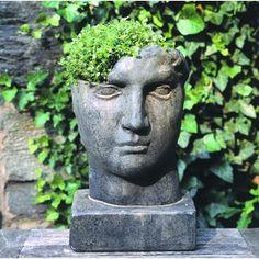Campania International Aurelius Cast Stone Statue Planter provide timeless beauty to your garden or landscape Color: Ferro Rustico Nuovo Stone Planters, Urn Planters, Head Planters, Hanging Planters, Concrete Planters, Rustic Planters, Concrete Garden, Glass Garden, Concrete Fountains