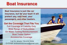 Boat insurance is just like car insurance, but for your boat! It will protect you, your boat, your passengers, and other boaters. Plus, our carriers have tons of options to fit your needs and budget. Boat Insurance, Boat Trailer, Boater, Budgeting, Car, Fitness, Automobile, Budget Organization, Autos
