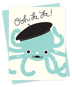 NEW! FRENCH OCTOPUS from Night Owl Paper Goods 'ooh la la!' Get a little handsy with this flirtatious card.
