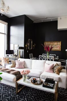 Absolutely in love with this small space living area! Dining room, home office, and living room in one space. High gloss black walls make the space Next Living Room, Living Room Decor, Living Area, Dining Room, Black Walls, Living Room Inspiration, Design Inspiration, Cheap Home Decor, Apartment Living