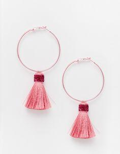 Image 1 ofSuzywan DELUXE Glitter Tassel Small Hoop Earrings