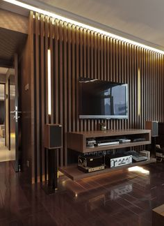 45 Modern Home Entertainment Centers That Will Inspired 45 Modern Home Entertainment Centers That Will Inspired Home Design And Interior Living Room Partition, Room Partition Designs, Home Design, Home Interior Design, Design Ideas, Bedroom Entertainment Center, Bedroom Wall Units, Tv Wanddekor, Modern Tv Wall Units