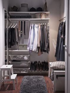 An adaptable storage system like ALGOT makes it possible to take a small nook and turn it into a walk-in closet. #closet #organizingtips