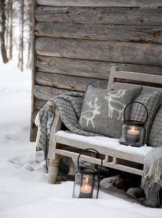 How to Adopt Nordic Hygge and Cozy Up Your Home - 31 Daily Warm Blankets, Cabins In The Woods, Winter Christmas, Winter Porch, Cozy Winter, Winter Cabin, Winter Snow, Rustic Christmas, Winter Garden