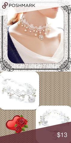 Snowflake/Pearl Embellished White Lace Choker This beautiful Choker is very Victorian. So feminine and pretty!! Approx weight: 15.6 g Jewelry Necklaces