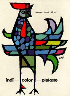 Celestino Piatti Illustration.Ad for Zurich printers specializing in color posters. via liveracing.livejournal.com
