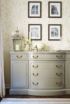 Gray Painted Buffet w/ Brass Hardware, Hollywood Regency details. Sarah Richardson: Real Potential