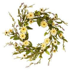 "Garden Accents Floral Wreath with Daisy - Yellow (20"")"
