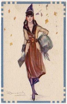 Bompard-Création-Carte-de-un-Art-Deco-femme en automne-feuilles