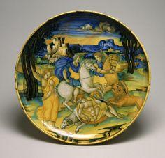 Faenza, istoriato ware by Baldassare Manara, after Giovanni Antonio da Brescia, c 1520 -47 (Walters Art Museum)