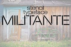 Militante is a stencil display font. Strong and delicate it makes a statement when used. It has a subtle roughness that shows better at large point sizes. Stencil Font, Stencils, Business Brochure, Business Card Logo, Professional Fonts, Font Packs, Open Type, Types Of Lettering, Script Type