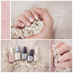 Sparkly Nails   *~♥~*    1. Prep your nails with a base coat.  2. Apply a thin coat of sheer pink or cream colored polish to the entire nail bed.  3. Paint a layer or two of opaque silver polish to tips only.  4. Dab a layer of semi-fine glitter polish one third of the way down your nail.  5. Smooth on a second layer of chunky glitter polish halfway on your nail.  6. Apply a third layer of glitter (optional)    7. Finish with a base coat.    Now you can enjoy your pretty, sparkly nails! ♥…
