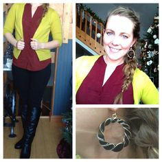 Work wear.  Casual teacher wardrobe. Clothes. Ootd. Outfit. Black pants, boots, maroon, chartreuse.   Follow my Instagram for more hairdos and styles: AbFabHairstyling