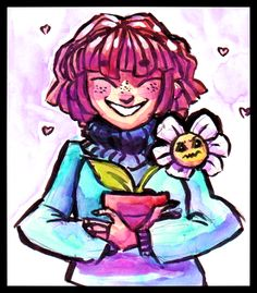 Frisk and Flowey by hygieidoodles