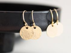 Small Gold Disc Earrings Round Circle Earrings by VivaRevival