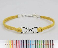 Infinity bracelet Simple Infinity jewelry Silver/bronze Infinity Charm,gift idea,rope,string,Choose your color,wedding,holiday,party,activity,Wholesale or retail