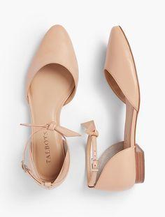 004a546e Edison Ankle-Strap D'Orsay Flats - Soft Napa Leather | Talbots Zapatos  Amarillos