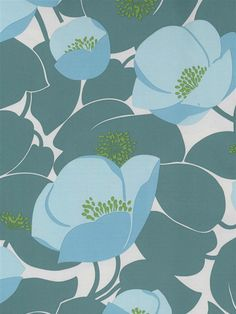 Aqua poppies will blow across your walls with this vibrant and fun wallpaper print by Amy Butler. From AmericanBlinds.com