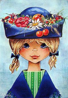 Vintage big eye doll card from the Cute girl with a wonderfull hat.By Maria Elena Lopez Vintage Girls, Vintage Children, Vintage Art, Big Blue Eyes, Big Eyes, Vintage Greeting Cards, Vintage Postcards, Illustrations Vintage, Retro Kids
