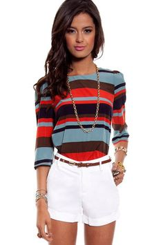 Switch up your usual black and white stripes with a multicolored stripe top.