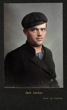 Colorized portrait of Jack London an American novelist, journalist and social activist. He had a great impact on the literary world because he developed a new genre: science-fiction. His most famous works include The Call of the Wind and White Fang. Writers And Poets, Book Writer, Book Authors, American Literature, American History, I Love Books, My Books, Playwright, Lectures