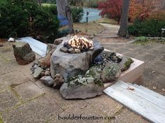 Design Boulder Fire Pit Fresh Fountain To Pits Of Outdoor Water Medium Large Combo E Fire Pit With Water Feature, Water Features In The Garden, Fountains For Sale, Garden Fountains, Water Fountains, Rock Fountain, Mulch Landscaping, Diy On A Budget, Budget Plan
