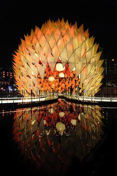 #Pabellón Golden Moon de #Hong Kong, inspirado en el concepto #chino de la linterna y la leyenda de la diosa de la luna. #Hogaressauce.
